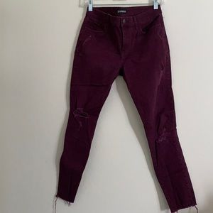 Express Burgundy Mid Rise Ankle Distressed Jeans